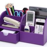 Storage Compartments Multifunctional PU Leather Office Desk Organizer