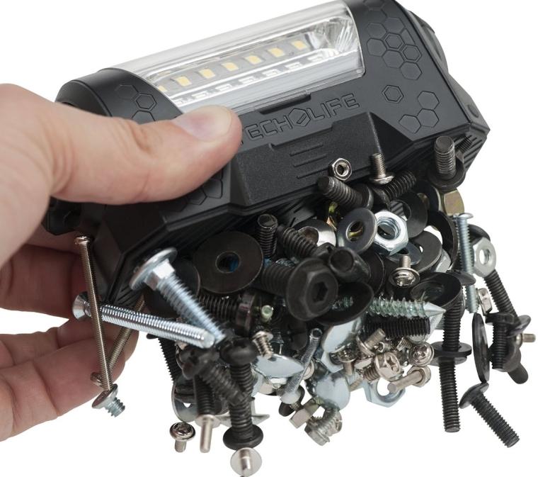 Tech-Light Magnetic LED Rechargeable Work Light Rotating Beam Waterproof Compact 4 Brightness Settings Runs