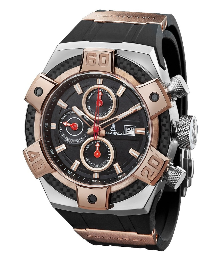 Tone Rose Gold Chronograph Men Watch with Carbon Fiber Bezel