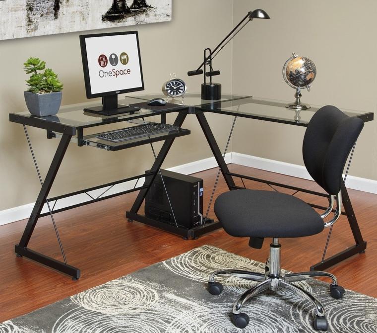 Ultramodern Glass L-Shape Desk