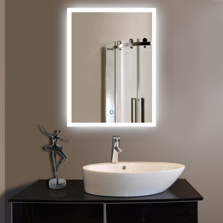 Hanging Vanity Lights Over Mirror : Vertical LED Wall Mounted Lighted Vanity Bathroom Silvered Mirror with Touch Button
