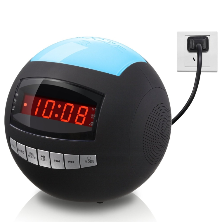 Dual Alarm Clock Radio Sphere  Wireless Bluetooth Speaker