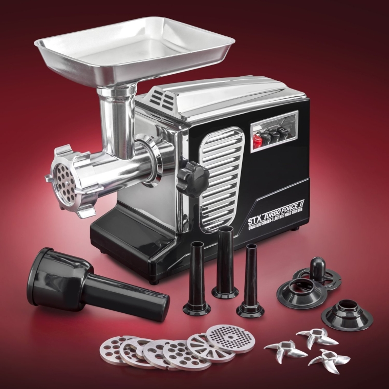 Quad Air Cooling - Black Electric Meat Grinder & Sausage Stuffer