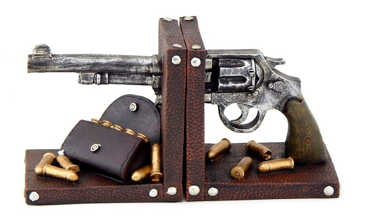 bookends-gun-pistol-book-end-black
