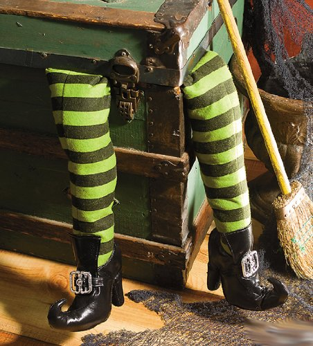 deluxe-plush-witch-legs-green-and-black-with-shoes-great-halloween-decor