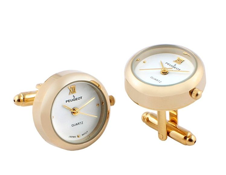 peugeot-14k-gold-plated-white-dial-cufflink