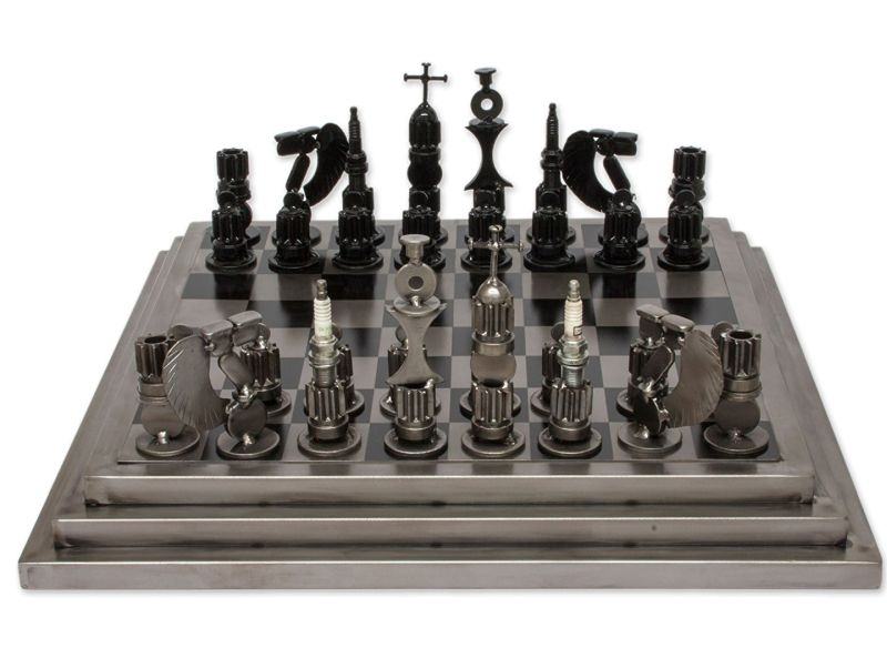 upcycled-auto-part-chess-set