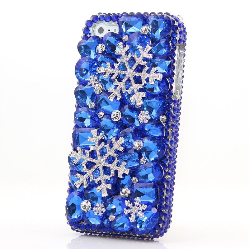 bling-genuine-crystals-blue-snow-design-hybrid-protective-cover-for-iphone-7-plus