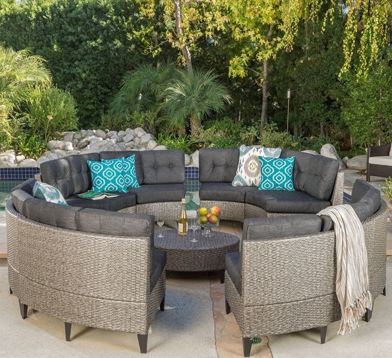 Currituck Outdoor Wicker Patio Furniture 10 Piece Black Circular Sofa Set With Water Resistant