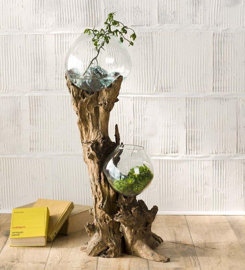 Hand Blown Glass Bowls And Driftwood Art Sculpture