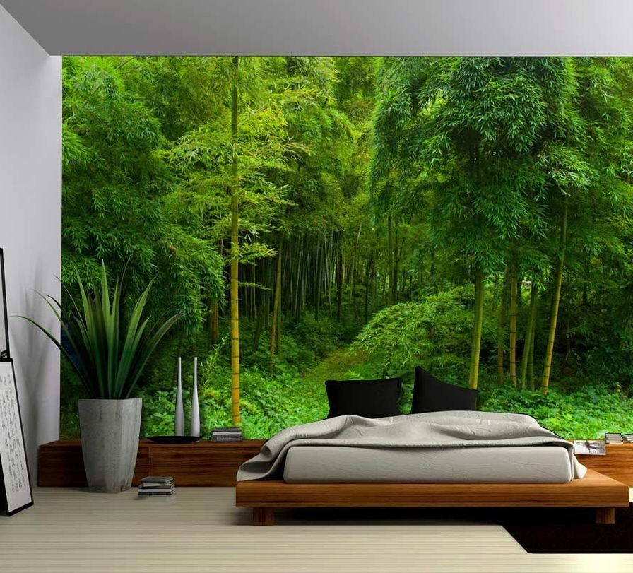 Hidden path in a bamboo forest wall mural for Bamboo forest mural