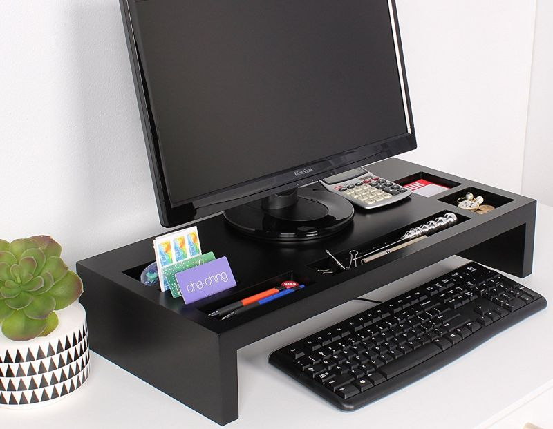 Monitor Bridge Has Storage Spaces To Organize Smart Phones Pens Highlighters And Post It Notes Desktop Organizer Is Crafted Of Manufactured Wood With