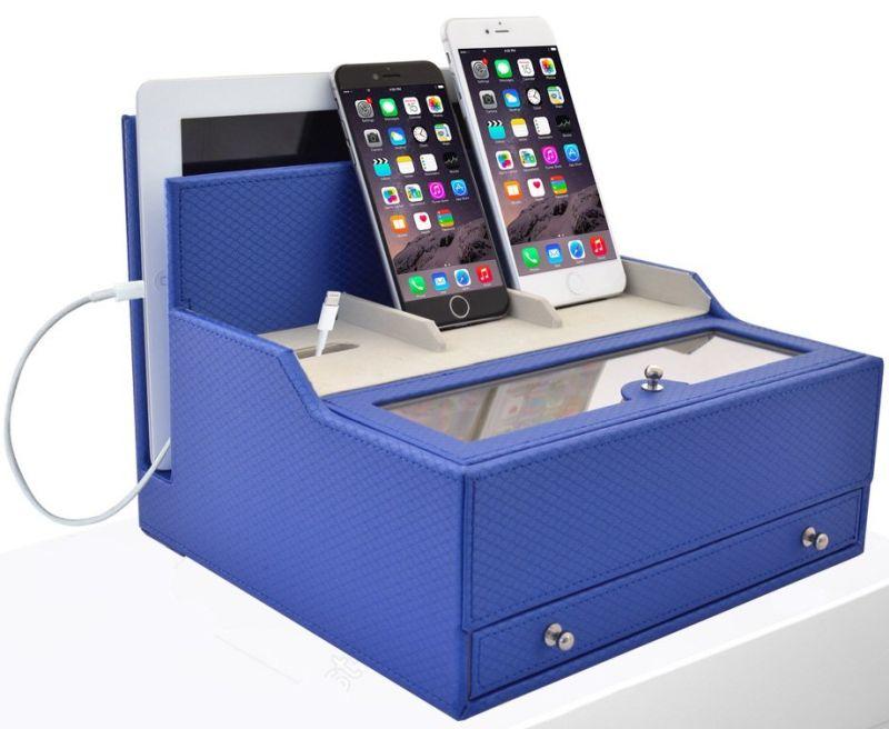 charging valet office desk organizer electronics caddy faux leather station blue. Black Bedroom Furniture Sets. Home Design Ideas