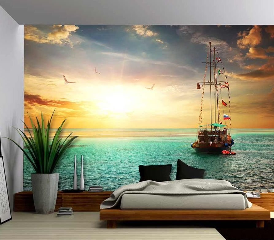 Removable Wallpaper Murals Beautiful Sunset Over Yacht In The Sea  Removable Wall Mural