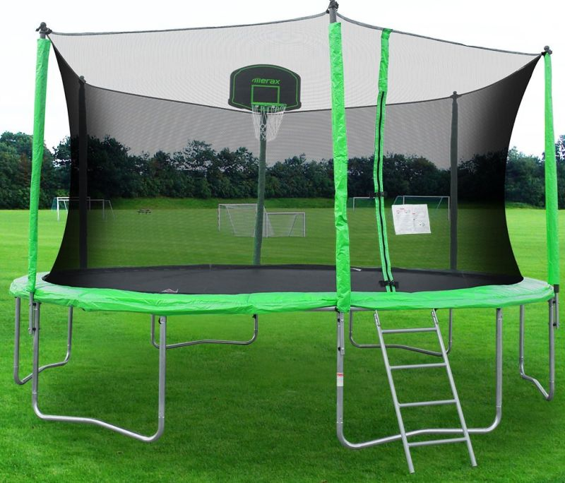 New Heavy Duty Trampoline 14 Ft With Ladder Safety Net: Merax 14-Feet Round Trampoline With Safety Enclosure