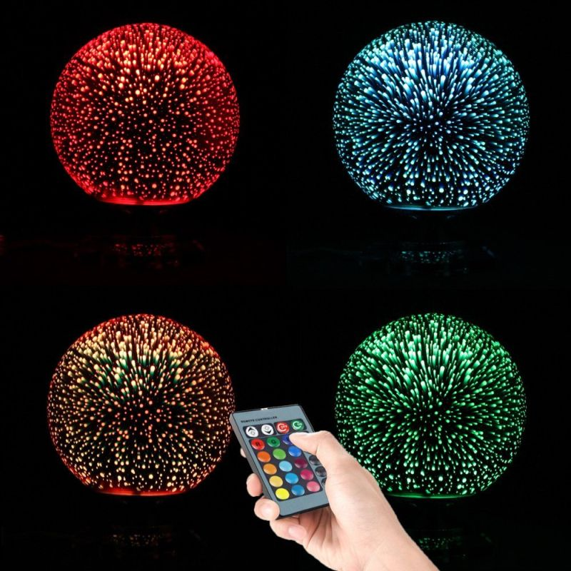 Polennon Ball Shape Colorful 3d Fireworks Table Lamp With