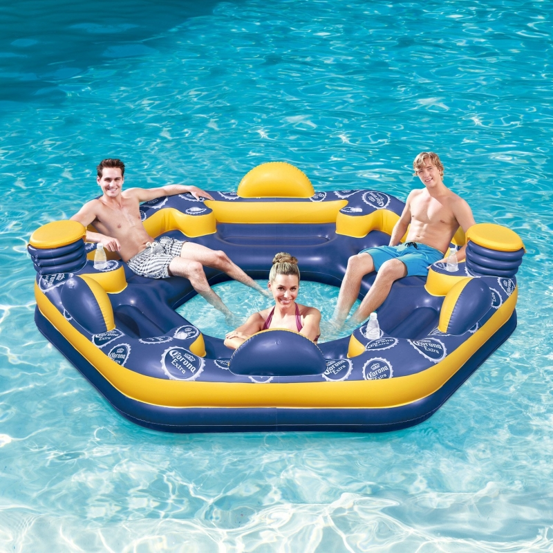 Corona 6 Person Giant Inflatable Island Raft With Built In