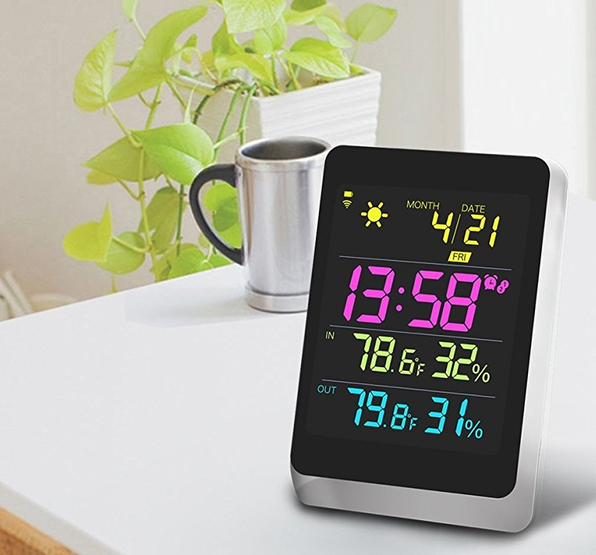 Wireless color weather station black with backlight indoor for Indoor design temperature