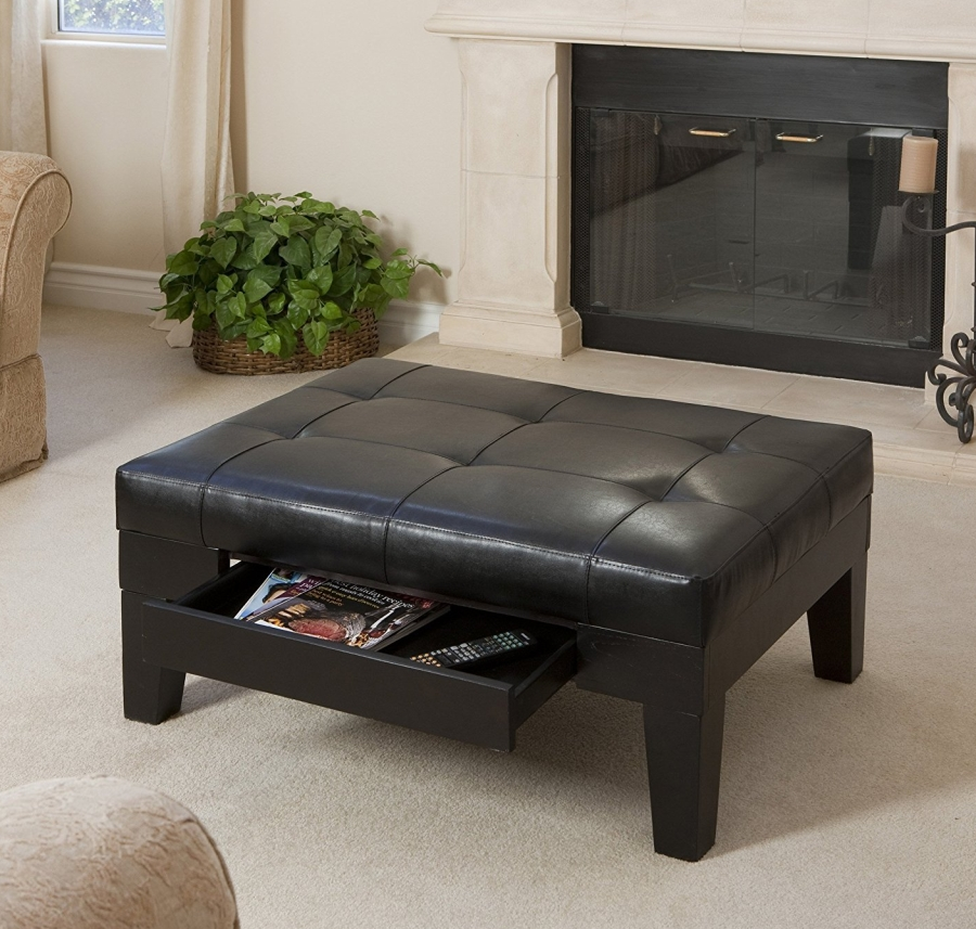 Espresso Leather Tufted Top Coffee Table 7 Gadgets