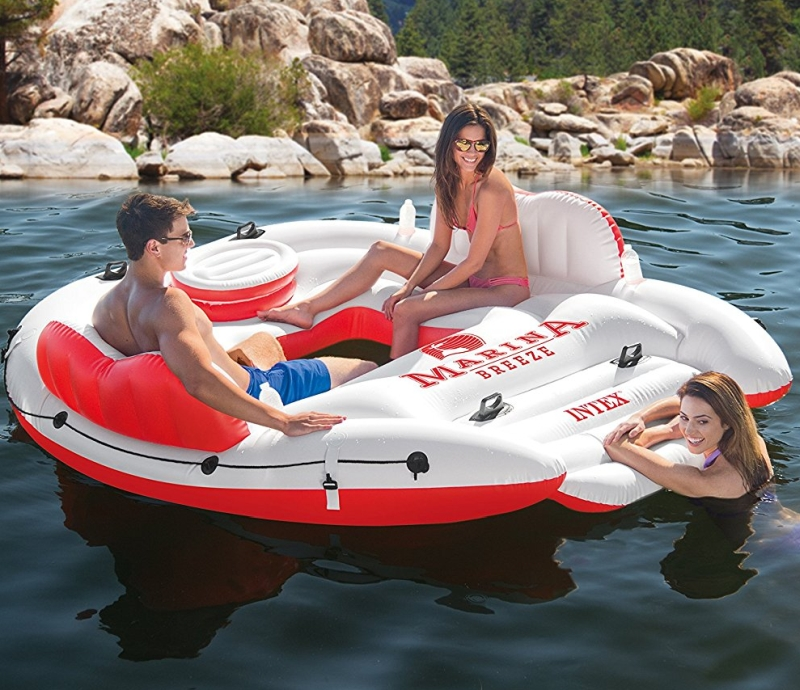 Marina Breeze Island Lake Raft With Built In Cooler 7
