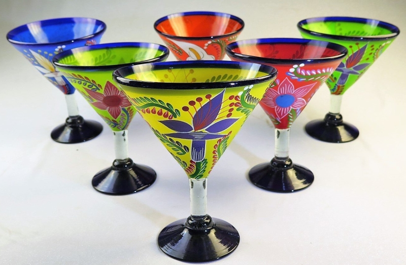 Mexican Hand Painted Margarita Glasses