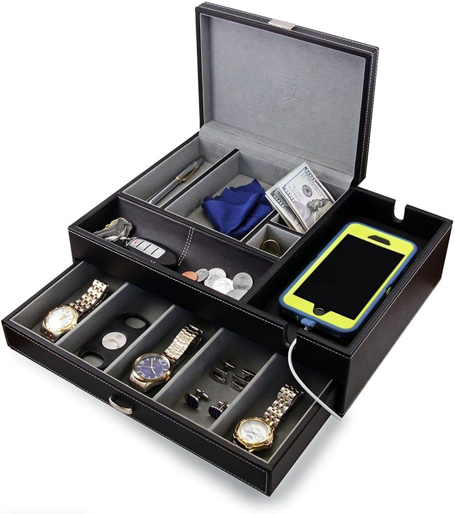 Big Dresser Valet Box & Mens Jewelry Box Organizer with
