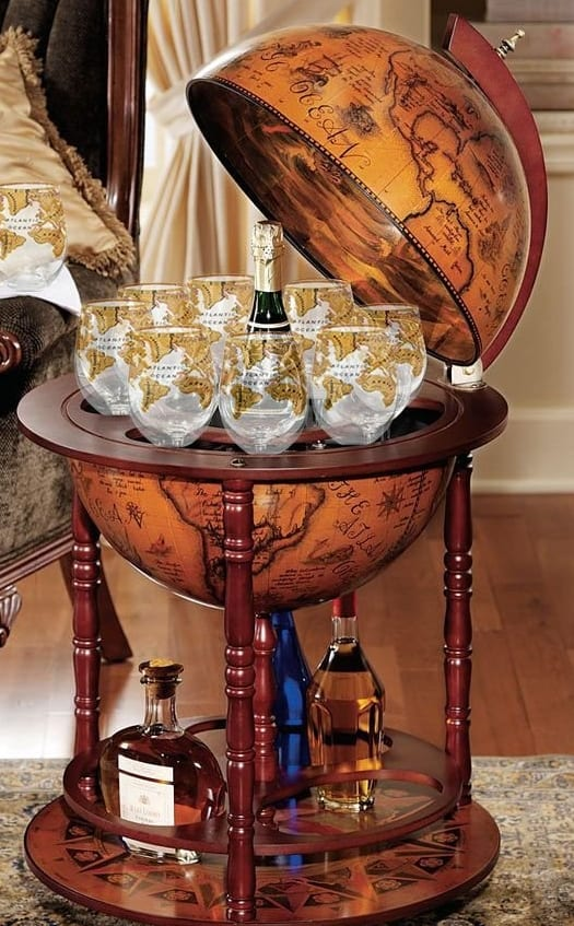 Set Of 4 Gold World Globe Stemless Wine Glasses 7 Gadgets