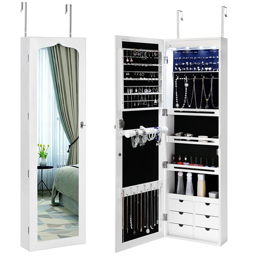 LED Jewelry Cabinet Armoire 6 Drawers Lockable Wall Door ...