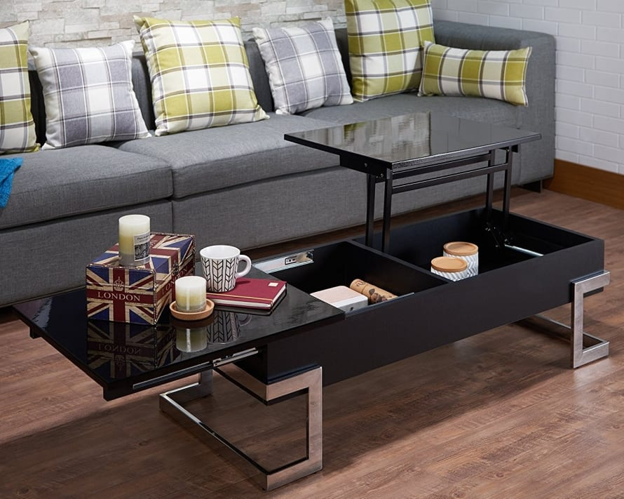 Modern Lift Top Coffee Table With Storage Black Chrome 7 Gadgets