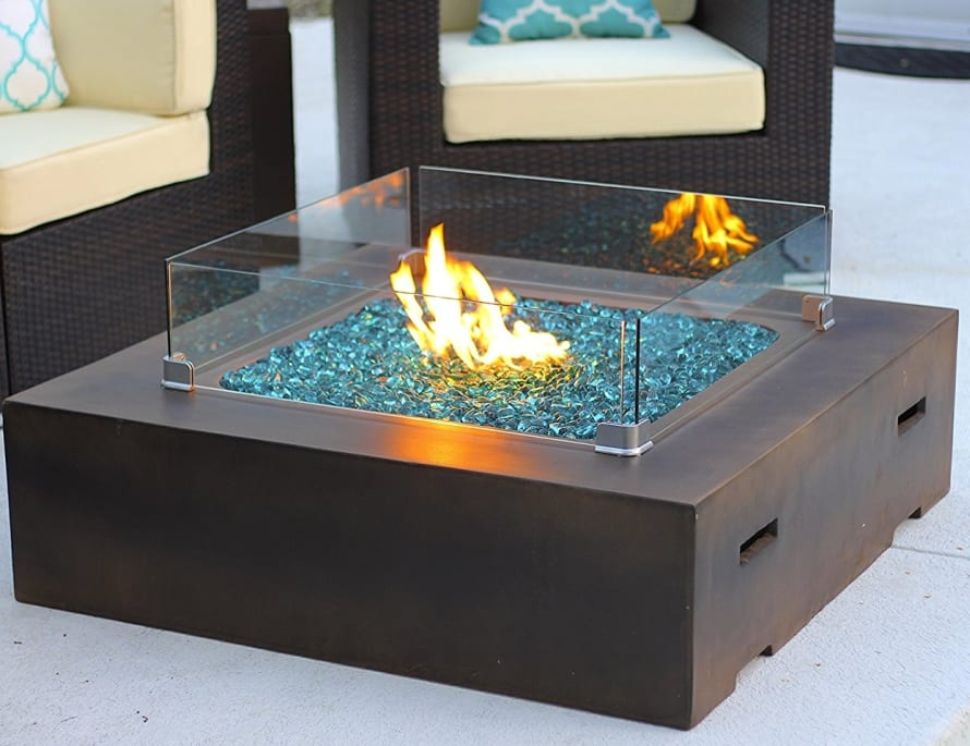 Square Modern Concrete Fire Pit Table W Glass Guard And