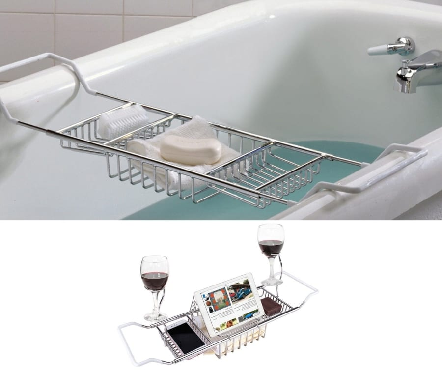 Stainless Steel Over Bath Tub Racks Shower Organizer Bathtub Caddy Tray