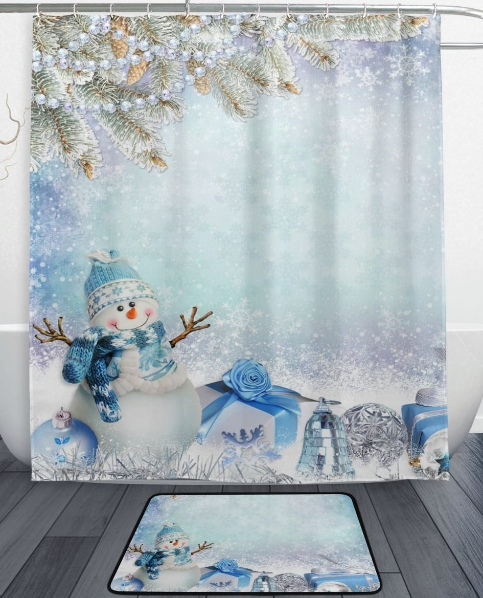 Winter Snowflake Shower Curtain And Mat Set 7 Gadgets