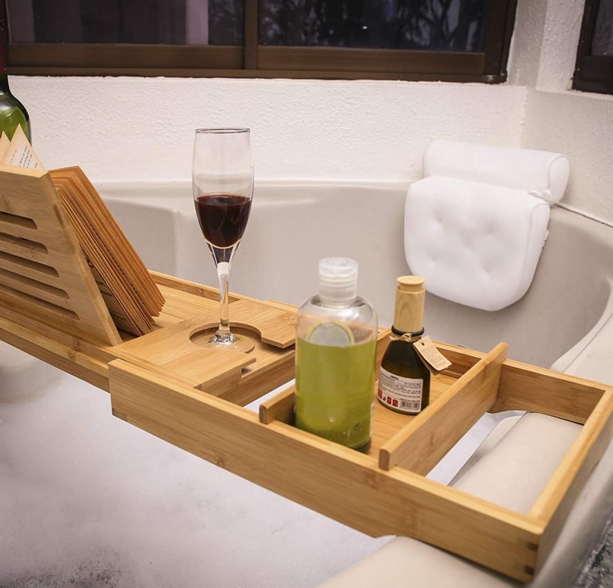Bathtub Caddy and Bed Tray with Luxury Bath Pillow