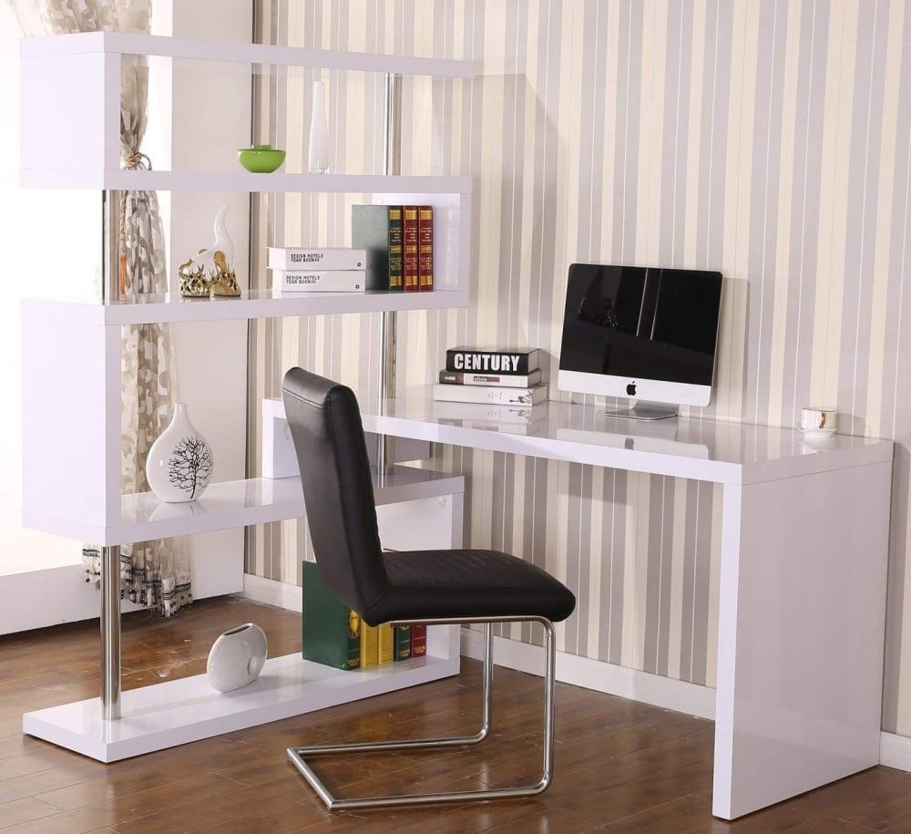 large corner desk and storage shelf rotating home 7 gadgets. Black Bedroom Furniture Sets. Home Design Ideas