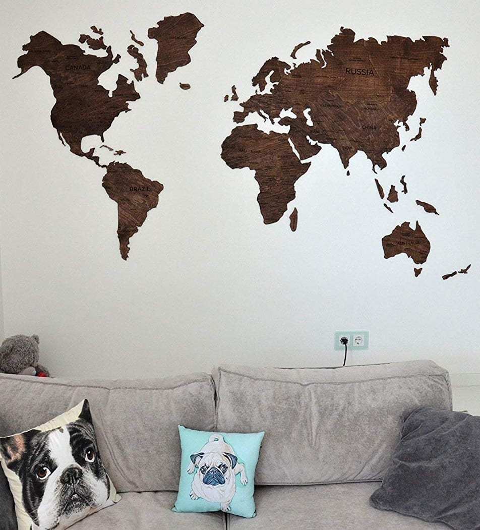 Home Decoration And Furnishing Articles Couple Characters: Wood World Map Wooden With Push Pins