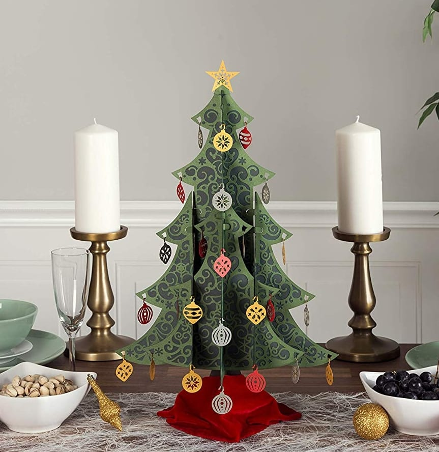 pin it on pinterest - Fully Decorated Tabletop Christmas Tree