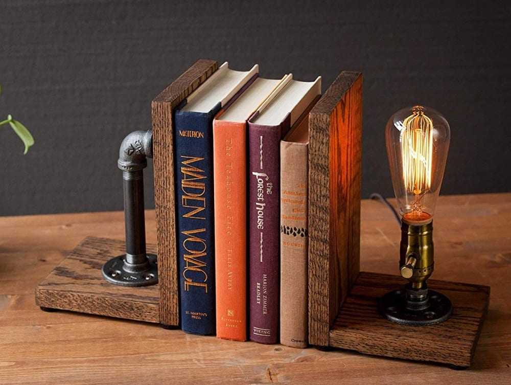 Steampunk bookend table pipe lamp with Classic Edison bulb