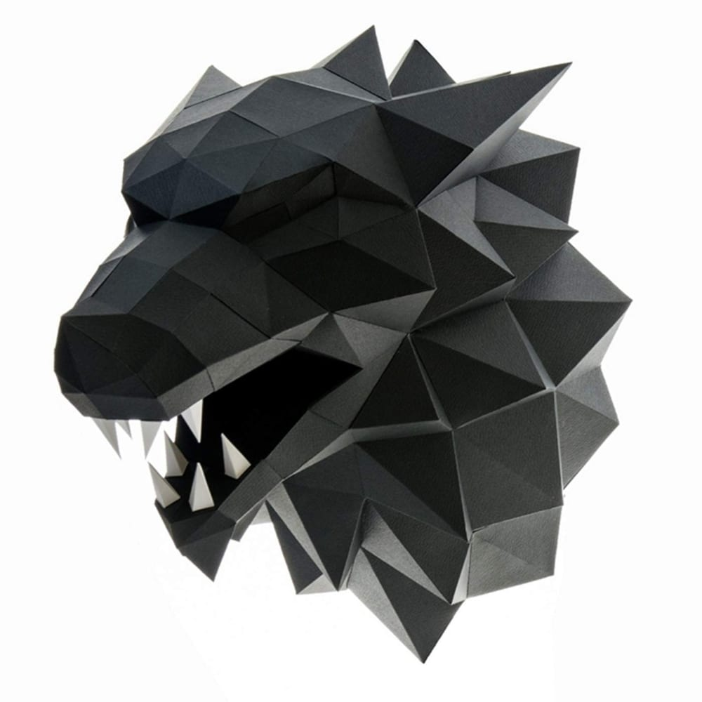 3d Wolf Head Animal Building Trophy Puzzle Low Poly