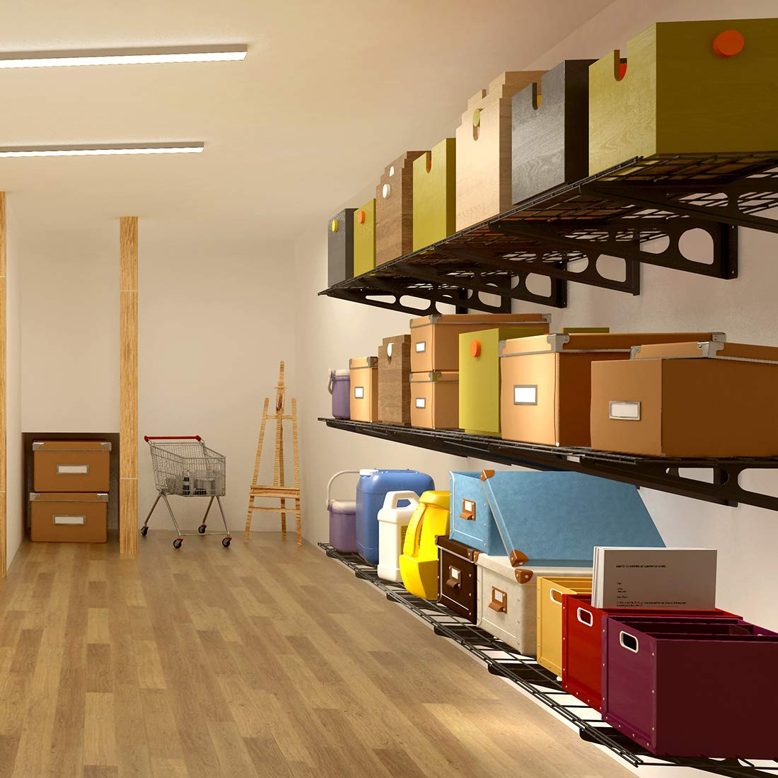 Flexible Garage Wall Storage: Wall Shelf Garage Storage Rack Wall Mounted Floating