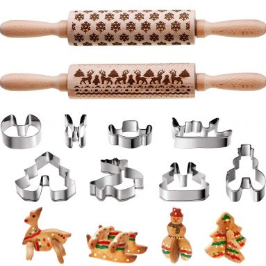 10 Pieces Christmas Wooden Rolling Pins Engraved Embossing Rolling Pin