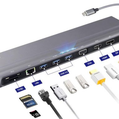 12 in 1 Multi-Port USB 3.0, Secure Docking Station with Charging Power