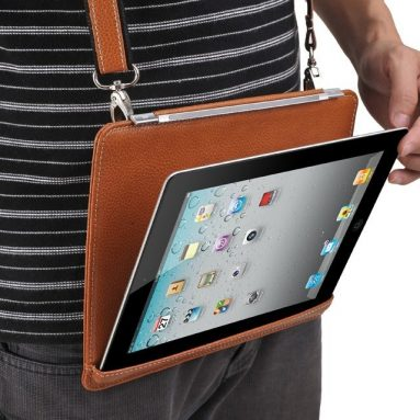 Hands-Free Brown Leather iPad Case