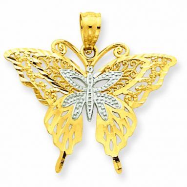 14k Rhodium Fancy Butterfly Pendant