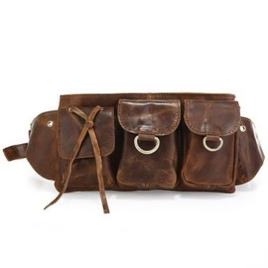 Vicenzo Adonis Leather Brown Waist Bag/ Fanny Pack/ Waist Hip Purse
