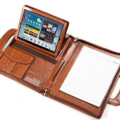 iPad Executive Portfolio With Brown Crocodile-Patterned Leather Trim