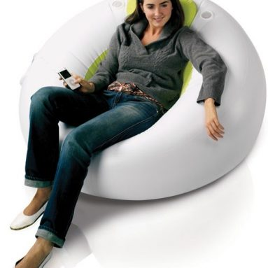 Inflatable lounger with built in speakers
