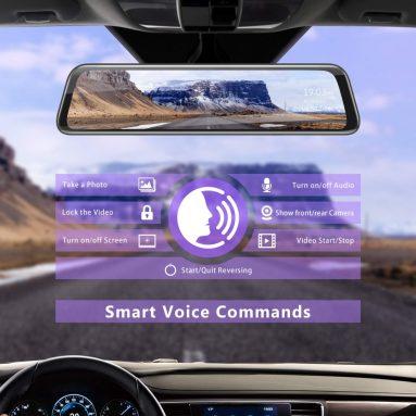 2K Mirror Dash Cam 12″ Backup Camera Voice Control