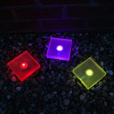 3 Frosted Ice Colour Changing Solar Lights Garden Decor Lamp