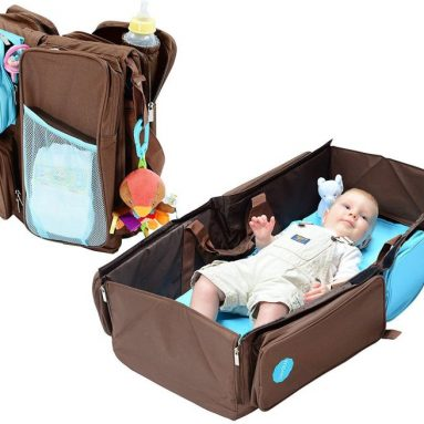 3-in-1 Convertible Diaper Bag, Baby Changing Pad & Travel Bassinet Infant Bed