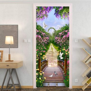 3D Door Sticker Wall Mural Art Beautiful Flowers Poster